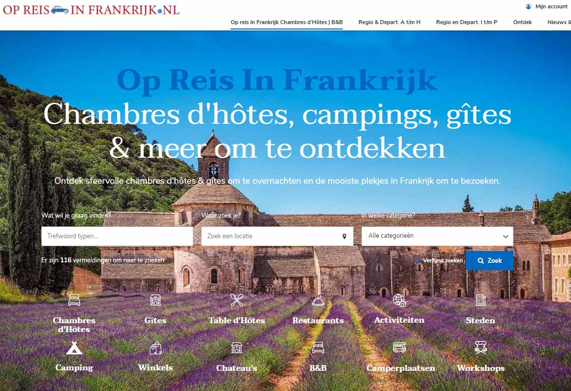 Op Reis in Frankrijk heeft een nieuwe website